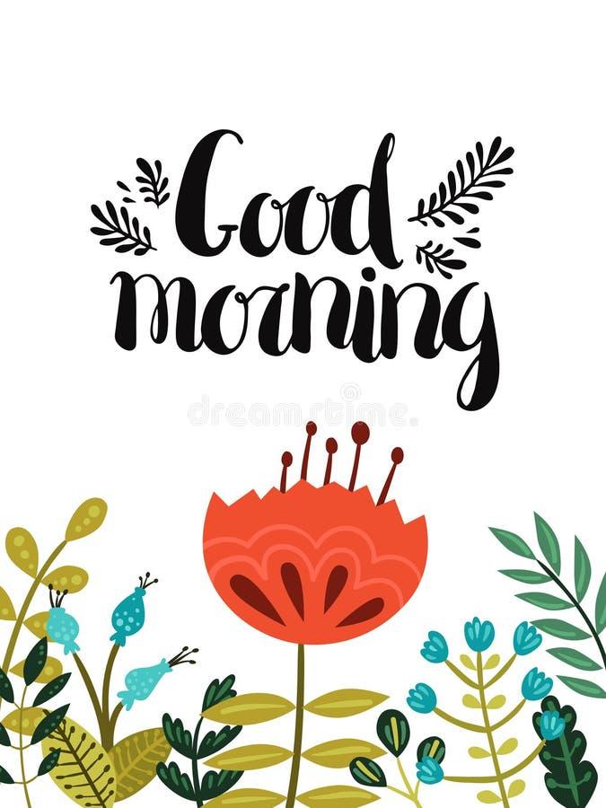 god morgon för kort vektor illustrationer