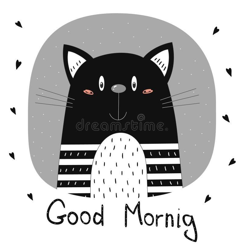 god morgon för kort Hand dragit gulligt roligt tryck för tecknad filmvektorkatt stock illustrationer