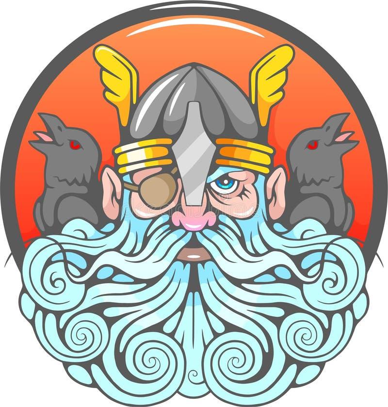 God Odin en zijn raven vector illustratie