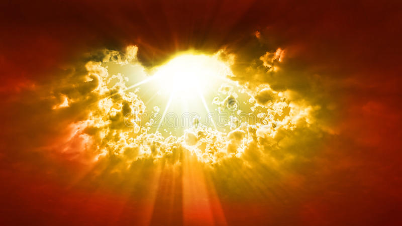 God rays. Clouds letting the sun shine vector illustration