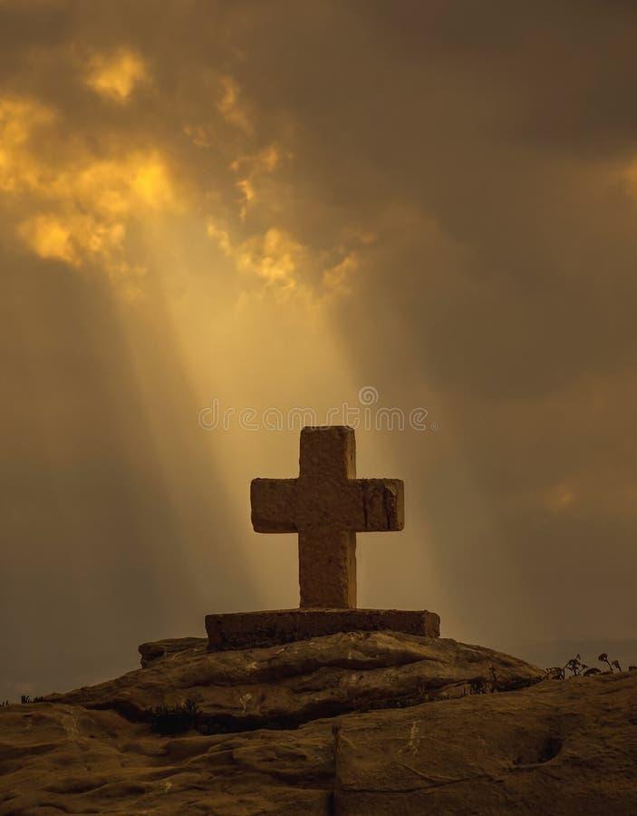 God rays and Christian cross stock photos