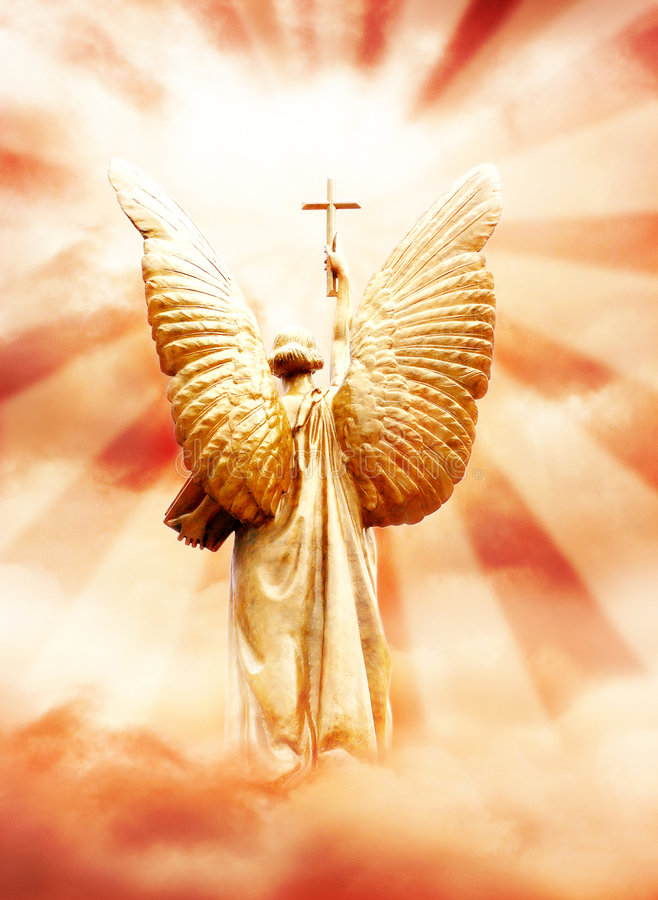 Download Gods angel with the cross stock illustration. Illustration of emotional - 7163473