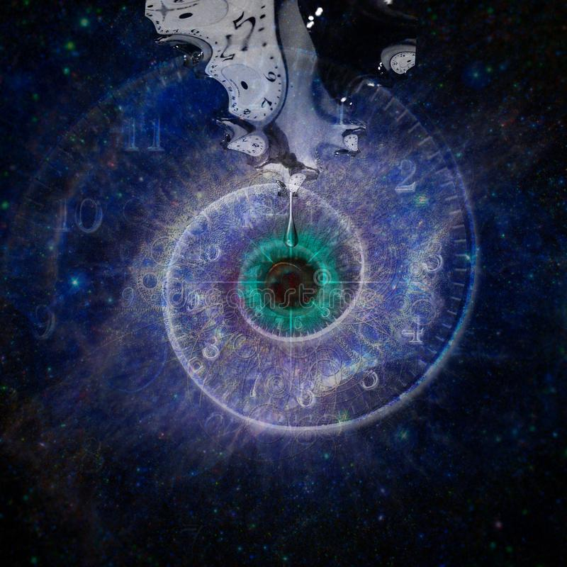 God`s eye. Black hole, galaxy in eye shape. Salvador Dali style royalty free illustration