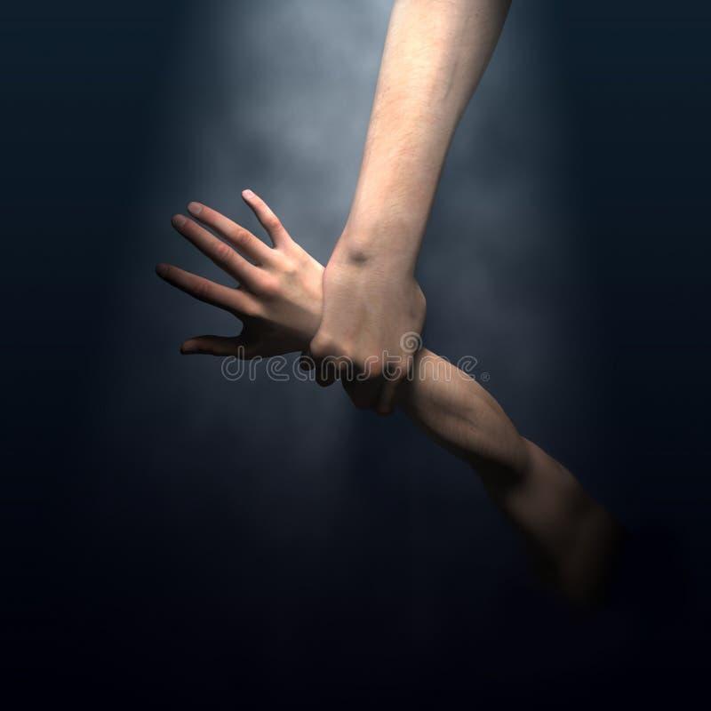 Gods hand saving man vector illustration