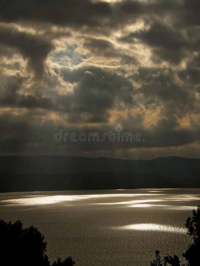 God's rays. On the Adriatic Sea in Dalmatia (Croatia royalty free stock photo