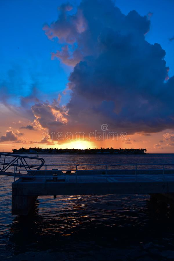 God`s sun goes down in Key West! royalty free stock image