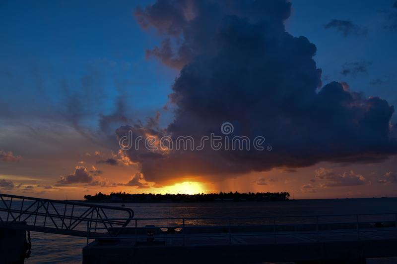God`s sun goes down in Key West! royalty free stock photography