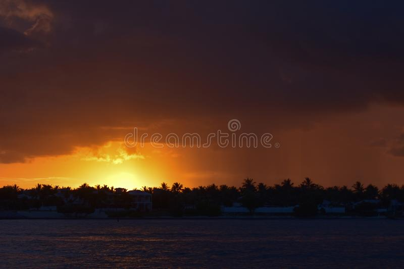 God`s sun goes down in Key West! stock photos