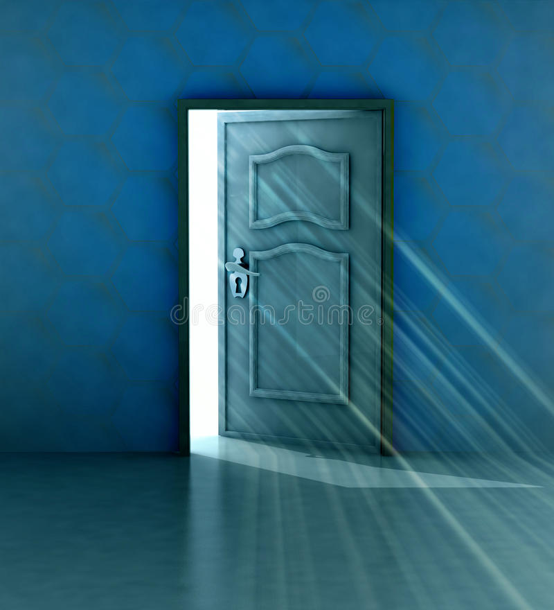 God salvation behind blue wall and opened door royalty free illustration