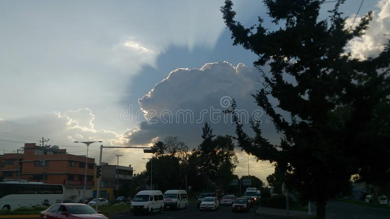 God Shadow. Shadow in the clouds, Mexico City stock photo