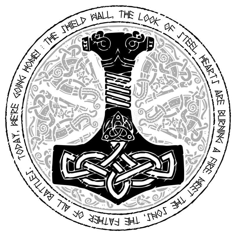God Thor Hammer Mjollnir Round Traditional Scandinavian Ornament
