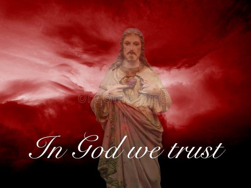 In God vertrouwen wij op teken over Jesus Christ stock fotografie