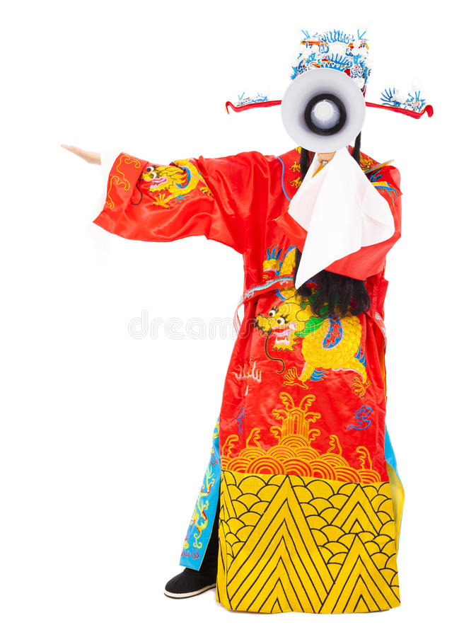 god of wealth holding a megaphone.isolated on white royalty free stock photo