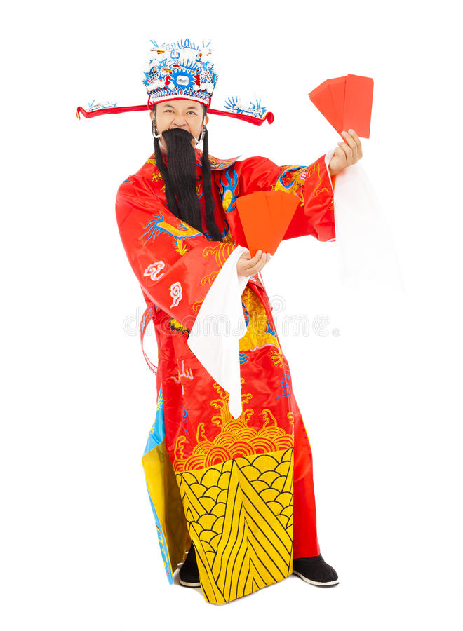 God of wealth holding Red Envelope royalty free stock photography