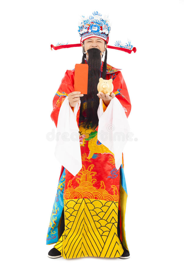 God of wealth holding red envelope and piggy bank. Isolated on white background stock photos
