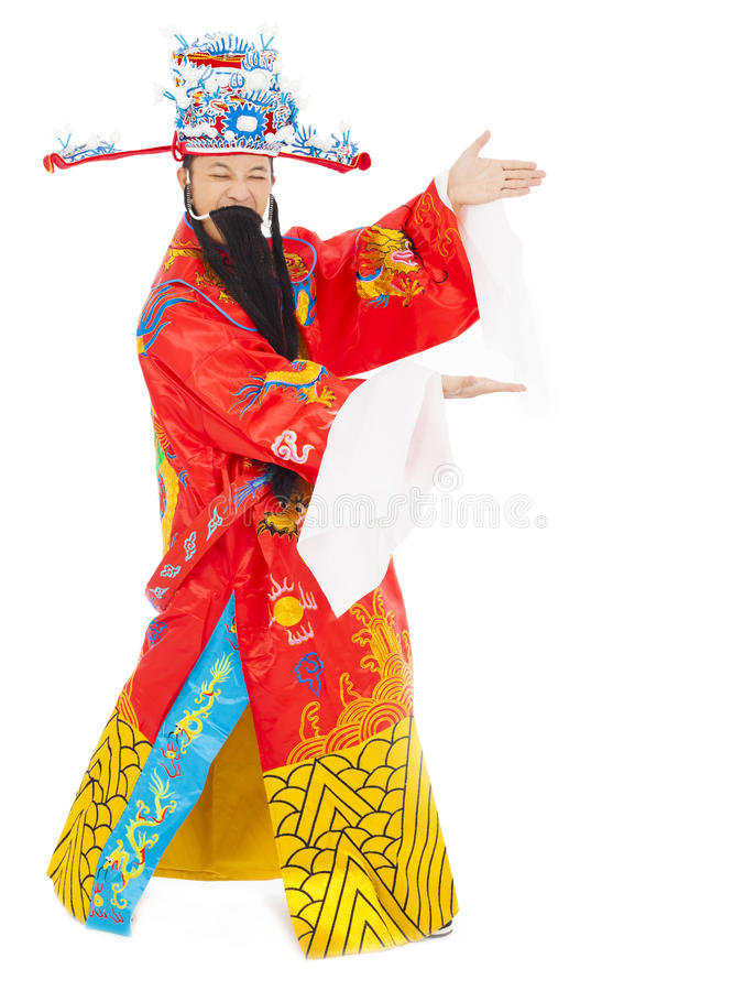 God of wealth making a welcome gesture. isolated on white. Background stock images