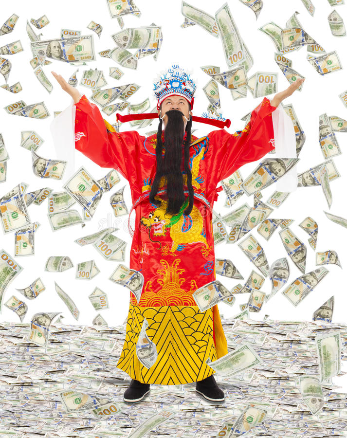 God of wealth share riches and prosperity with money rain. Background royalty free stock images