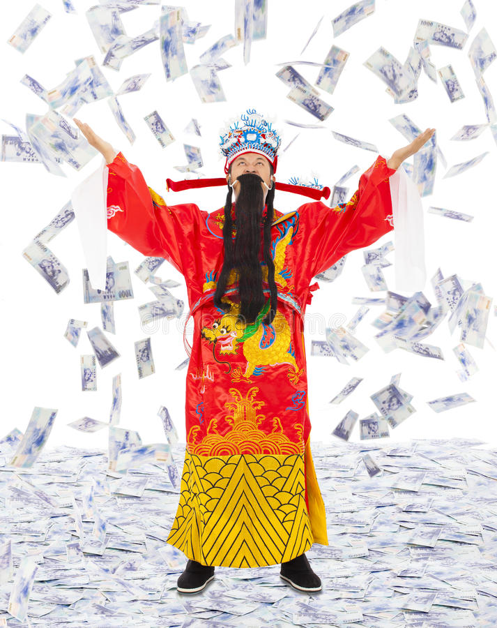 God of wealth share riches and prosperity with money rain. Background stock image