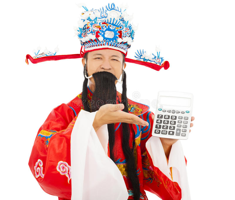 God of wealth show a compute machine. Over white background royalty free stock image