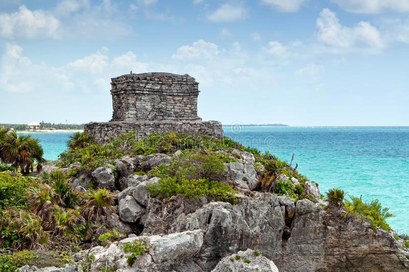God of Winds Temple. At the Caribbean Sea in Tulum, Mexico royalty free stock photos
