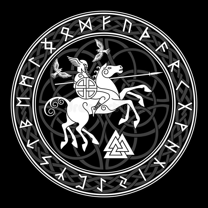 God Wotan, riding on a horse Sleipnir with a spear and two ravens in a circle of Norse runes. Illustration of Norse stock illustration
