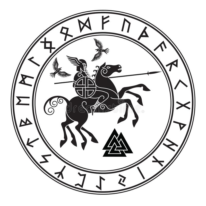 God Wotan, riding on a horse Sleipnir with a spear and two ravens in a circle of Norse runes. Illustration of Norse royalty free illustration