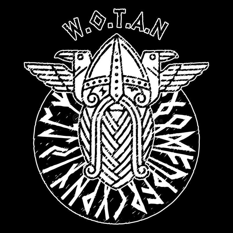 God Wotan and two ravens in a circle of Norse runes. Illustration of Norse mythology. Isolated on black, vector illustration vector illustration
