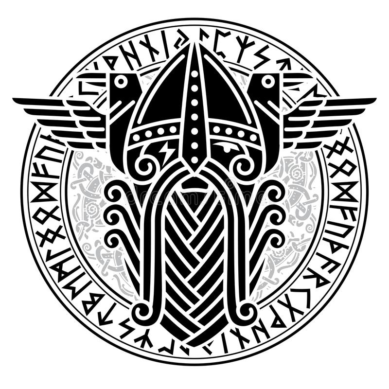 God Wotan and two ravens in a circle of Norse runes. Illustration of Norse mythology. On white, vector illustration vector illustration