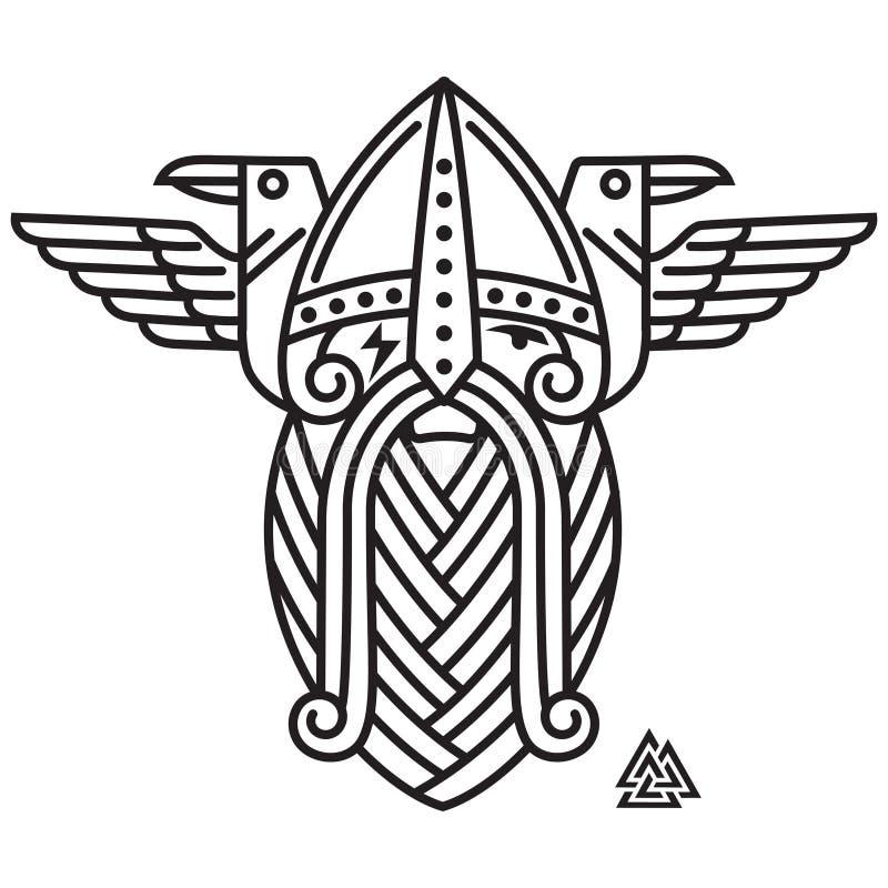 God Wotan and two ravens. Illustration of Norse mythology. Isolated on white, vector illustration royalty free illustration
