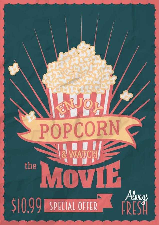 Goda del popcorn e guardi il film Modello di progettazione del manifesto con il secchio del popcorn fotografia stock