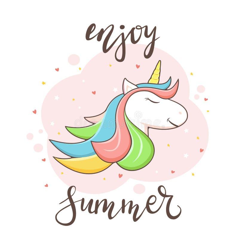 Goda dell'estate e della testa dell'unicorno su fondo rosa illustrazione di stock