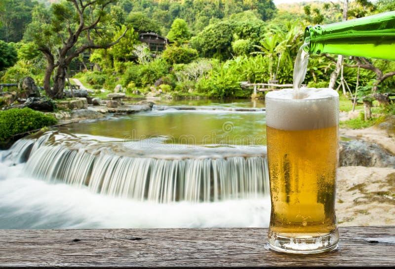 Goda della birra con la cascata immagine stock libera da diritti