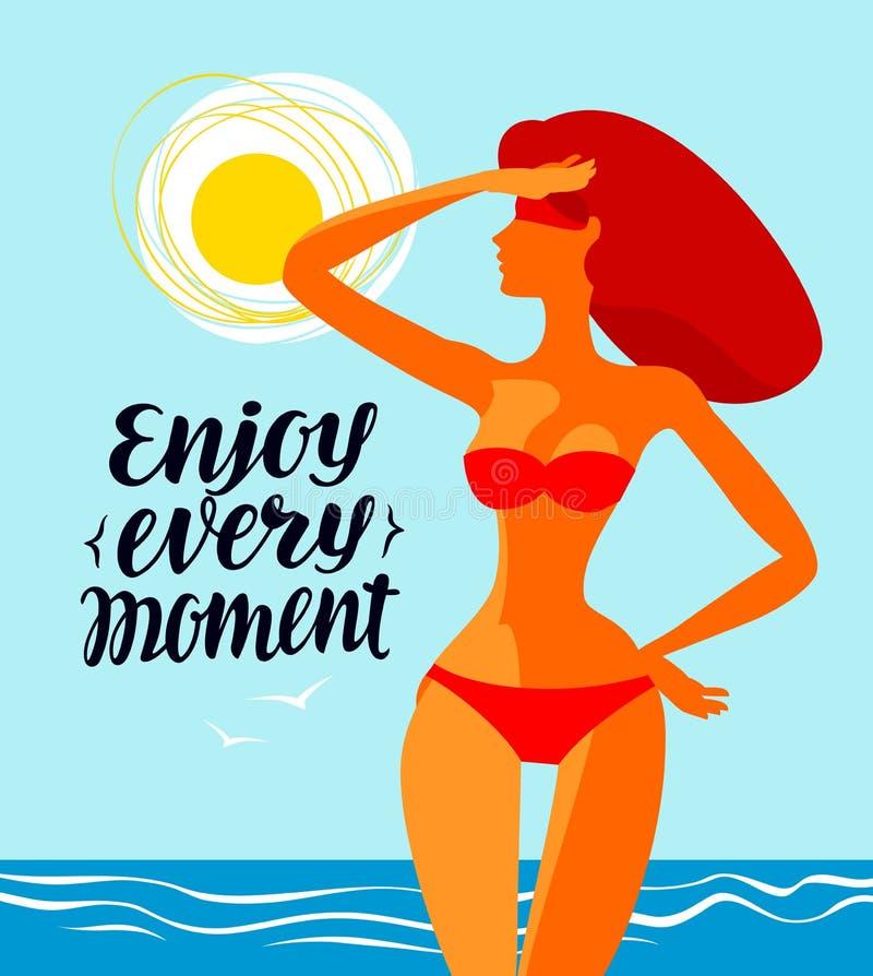 Goda di ogni momento, insegna Viaggio, illustrazione di vettore della spiaggia illustrazione di stock