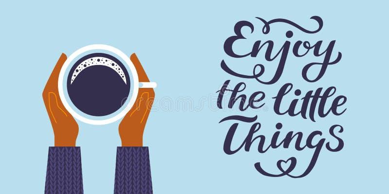 Goda di piccole cose citano la stampa nel vettore L'iscrizione cita la motivazione per vita e felicità, ispiratore disegnato a ma royalty illustrazione gratis