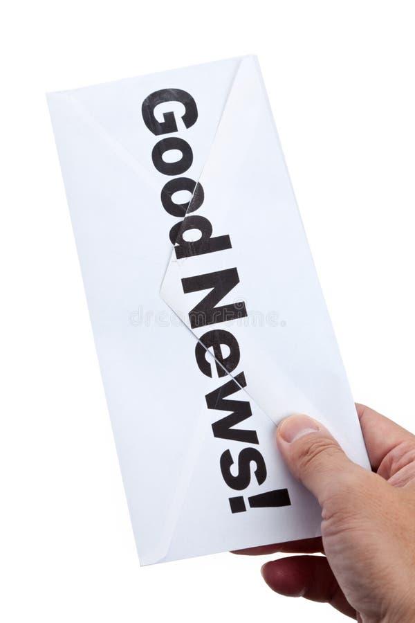 Goda nyheter och kuvert royaltyfri bild
