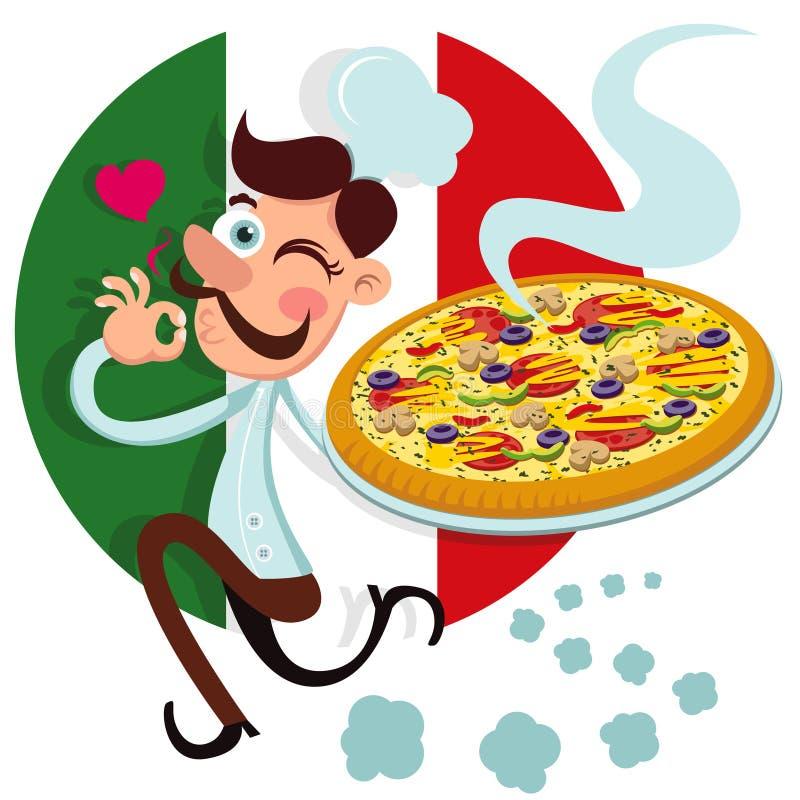 goda pizzalukter för kock stock illustrationer