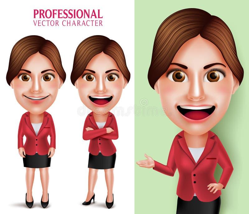 Goda som ser läraren för yrkesmässig skola eller affärskvinnan Vector Character Smiling vektor illustrationer