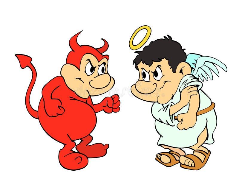 Goda Vs ondska royaltyfri illustrationer