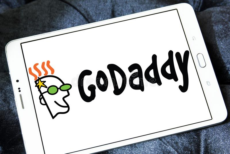 GoDaddy internet company logo. Logo of GoDaddy internet company on samsung tablet . GoDaddy Inc. is an American publicly traded Internet domain registrar and web royalty free stock images