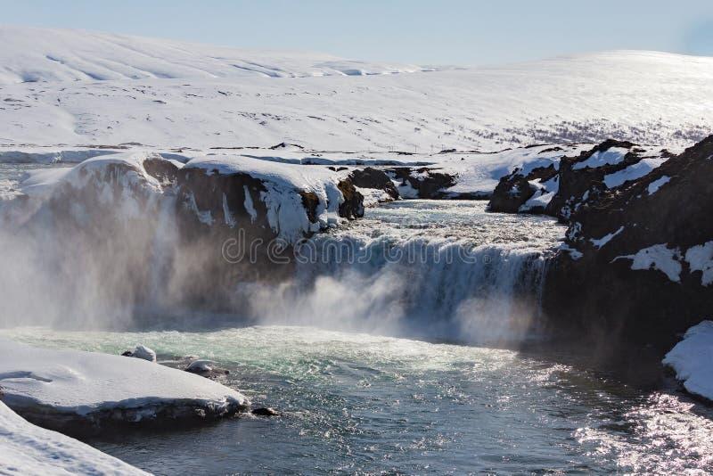 Godafoss, ландшафт водопада Исландии естественный стоковая фотография