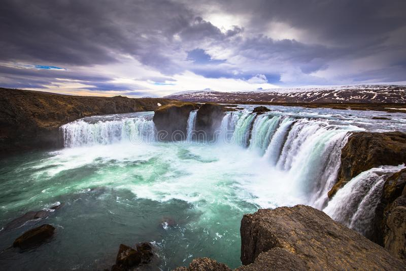 Godafoss - May 07, 2018: The mighty Godafoss waterfall, Iceland stock images