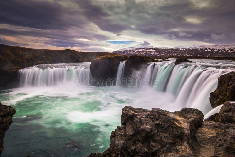 Godafoss - May 07, 2018: Godafoss waterfall, Iceland. Godafoss - May 07, 2018: The mighty Godafoss waterfall, Iceland stock image