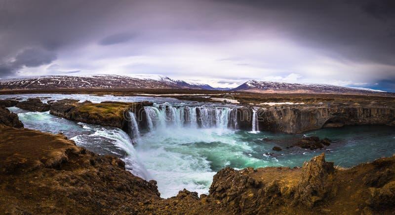 Godafoss - May 07, 2018: Godafoss waterfall, Iceland. Godafoss - May 07, 2018: The mighty Godafoss waterfall, Iceland royalty free stock photos