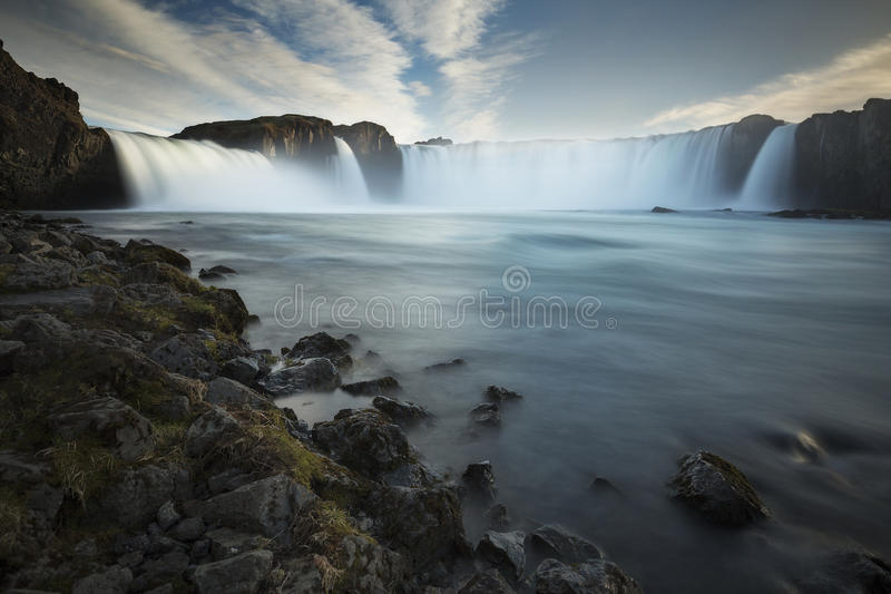 Godafoss. The sun begins to set over Godafoss , Iceland stock images