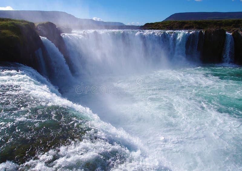Godafoss vattenfall i ön utan folk royaltyfria foton