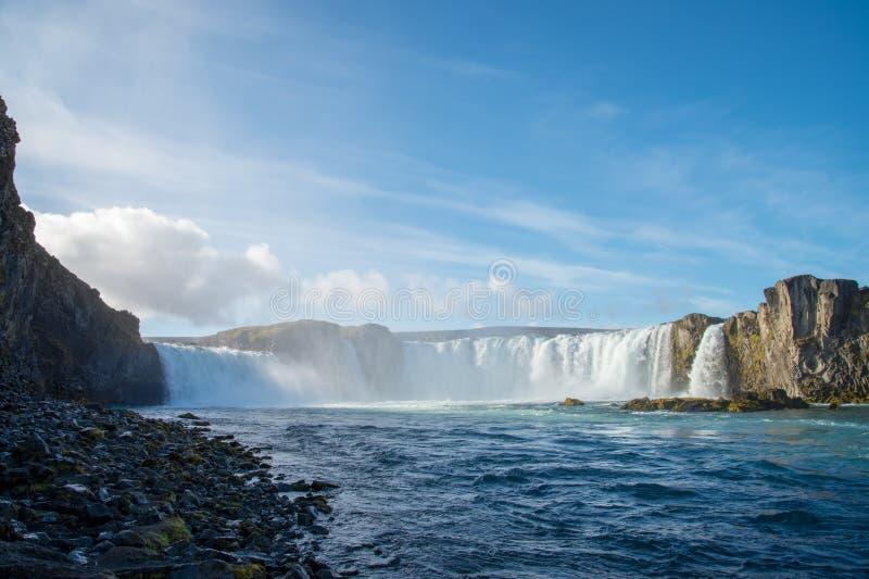 Beautiful blue sky at Godafoss Waterfall Iceland. Beautiful blue sky in day time at Godafoss Waterfall Iceland royalty free stock photography