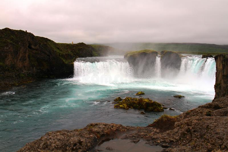 godafossiceland vattenfall royaltyfria bilder