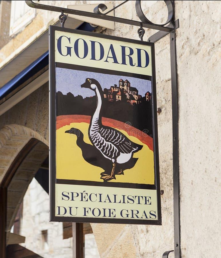 Godard Foie Gras Sign dans Rocamadour image stock