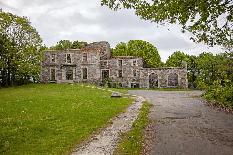 Goddard mansion at Fort Williams Park in Cape Elizabeth Maine. Ruins of Goddard Mansion at Fort Williams Park Portland Maine USA Cape Elizabeth on a cloudy royalty free stock photography