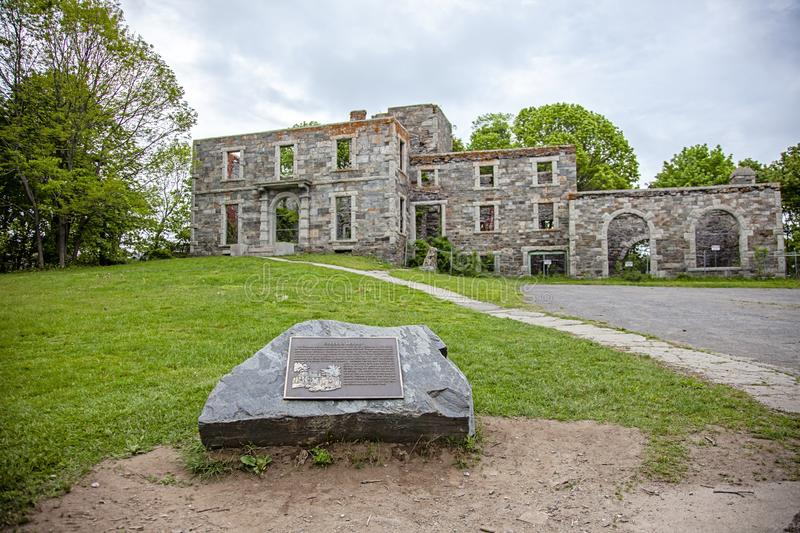 Goddard mansion at Fort Williams Park in Cape Elizabeth Maine. Ruins of Goddard Mansion at Fort Williams Park Portland Maine USA Cape Elizabeth on a cloudy royalty free stock photos